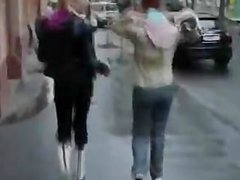 two russian woman on the street