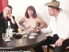 Horny granny playing strip poker