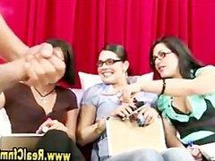 Slutty femdom humiliation cfnm group