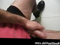 Hairy dude masturbating his gay jizzster part4