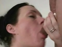 Young brunette loves a huge cock and the juice