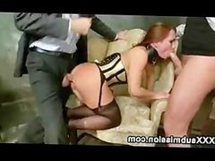 Busty babe anally and throat gangbanged by huge dicks