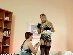 Glamorous blonde in stockings gets hot