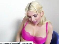 Big tits gloryhole blonde sucks cocks