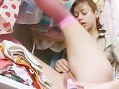 teen with ass dildo testing her ass