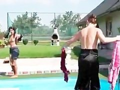 Naked lesbians gets wild in pool