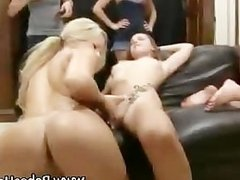 Lebian college whores play with dildo