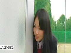 Nudist invisible Japanese schoolgirl bathroom handjob