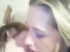 Blondes double teaming a blowjob