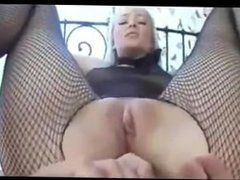 Fishnet Blonde Russian Does Anal