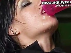 Girl with mega pussy lips gets drenched part1