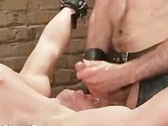 Poor dude caged and whipped gay BDSM part3