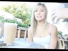 Cute blonde teen has her big nipple part5
