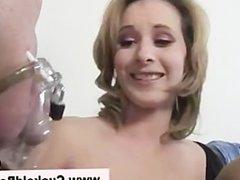 Hot cuckold femdom bitch sucks dick