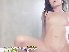 nice and hot brunette riding on my penis