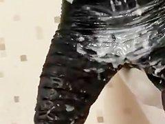 Bukkake gloryhole fetish slut drenched in fake cum