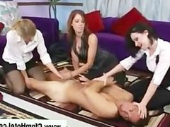 Femdom bitches show cock no mercy as guy pleads for release