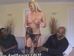 Blonde Wife Engulfs Two Black Studs