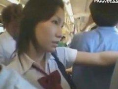 busty anthomaniac schoolgirl in train gives geek handjob