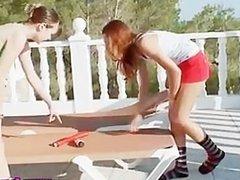 Teen chicks sucking toys outdoors