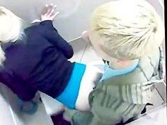 Blonde Slut Getting Fucked in a Public Toilet