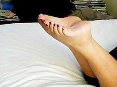 Lady Ck tip toe feet,
