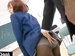 Asian hoe in nylons gets pussy rubbed