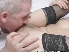 Horny grey old man loves licking a tight part3