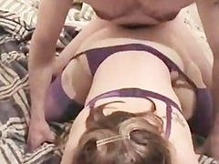 Dude sprays his creamy cum all over this brunette on her lingerie