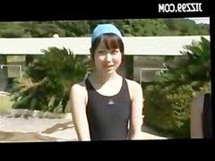 cute teen wear dissolve swimsuit in swimming pool 01