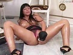 Busty horny slut working on a huge dildo part2