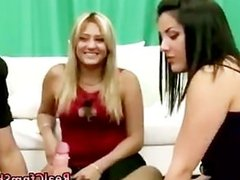 Cock loving cfnm sluts learning tips on bj as one girl sucks cock