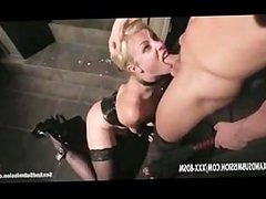 Bondage blonde babe gives blowjob