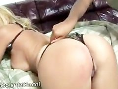 Sweet blonde Kelly plays roughly with hot ebony Nicole before sex