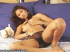Teen asian shoves a huge dildo into her part3