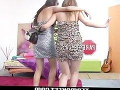 Oyeloca Drunk latina teens Carolina and Lilly hot lesbian sex