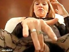 Hooker smokes and rubs her pussy POV