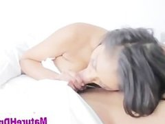 Naughty busty mature brunette sucks cock