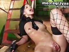 Girl with mega pussy lips gets drenched part4