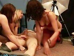 Cfnm lingerie sluts group handjob