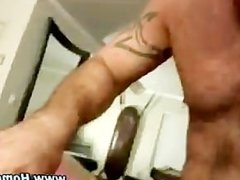 Gay teases straight ass with dildo