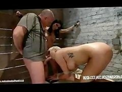Two bondage babes gives blowjob and gets pussy stimulation with d