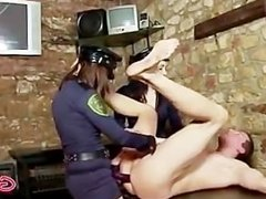 Sexy police officers arrest femdom guy