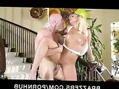 HOT big-tit blonde Alexis Monroe is oiled up & fucked by big-dick