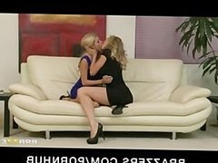 Blonde lesbian couple Brandi Love & Nicole Graves enjoy rough-sex