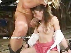 Hand holds slut mouth shut
