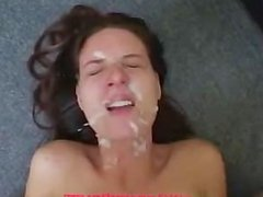 Brunette gets fucked and facialized