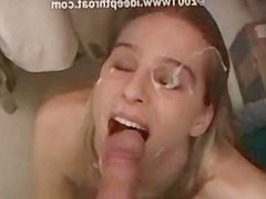 Heather Brooke deepthroats in the dressing room and gets a facial