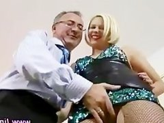 Watch older guy and stockings blonde
