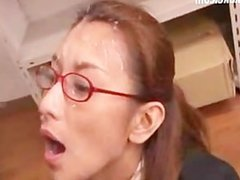 Japanese Office Worker Bukkake Cum On Glasses